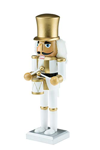 - Clever Creations Wooden White and Gold Drummer Nutcracker | Festive White and Gold Drummer Military Outfit | Extraordinary Traditional Christmas Decor | Stands 10
