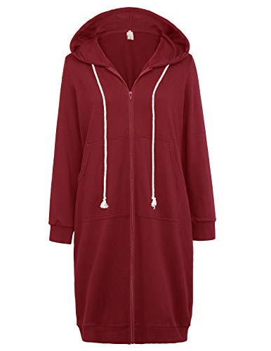 (GRACE KARIN Women's Comfy Versatile Warm Zip-Up Hoodie Sweatshirt Jackets Wine Red Plus Size 3XL CL612-4)