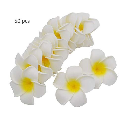 (TangTanger 50 Pcs Hawaiian Foam Artificial Plumeria Hawaiian Flower Petals for Wedding Party Decoration )