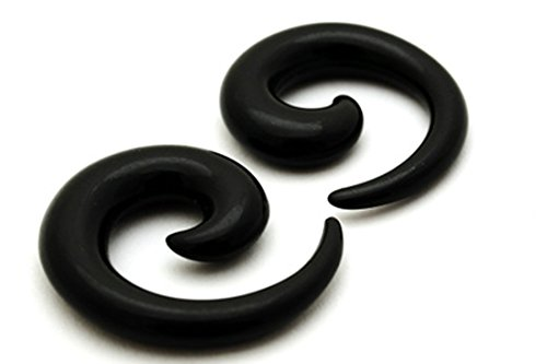 2g Body Jewelry (Black Acrylic Spirals - Sold As a Pair (2g (6mm)))