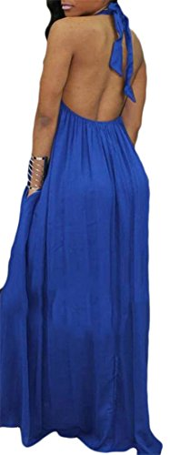 A Cromoncent Swing Halter Womens Beach Summer Pleated Line Maxi Backless Blue Dress wTOIRqnxZT