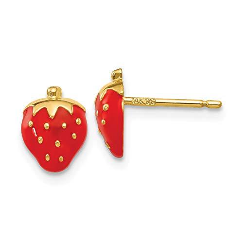 14k Enameled Strawberry Earrings in 14k Yellow Gold