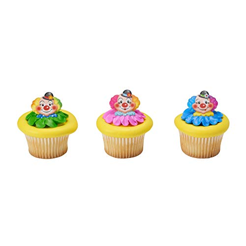 Baking Addict Cupcake Topper Decorations Cake Pop Dessert Decorating Rings Jolly Clowns, Wholesale Case of 864 (6 Packs of -