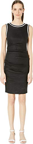 Nicole Miller Women's Stretch Linen Lauren Sheath Dress Black 8