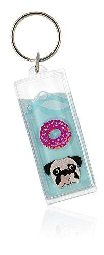 NPW Emoticon Keyring Key Fob - Blue Liquid Pug & Doughnut by Get Emojinal -