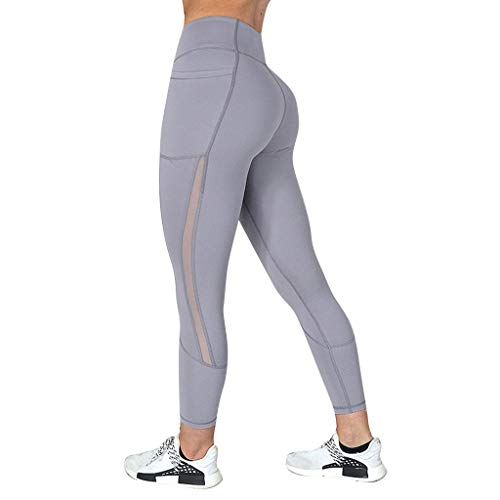 Sports Pants,Claystyle Ladies'net Yarn Stitching Pockets Tight Fitness Pants Trouser Gray