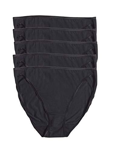 Felina | So Smooth Modal Hi Cut Panty | Hi Leg Opening | 5-Pack (Large, Black Black)