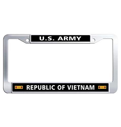 (Hensteelna U.S. Army Car Plate Frame US Army Republic of Vietnam Gallantry Cross Unit Citation Ribbon Metal Car Tag Frame (1 pic, 6' x 12' in))