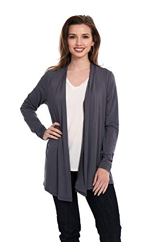 X America Long Sleeve Knit Open Front Cardigans for Women, Junior and Plus Size (2X Plus Size, Steel Grey)