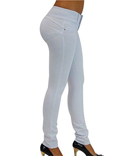 Jeans Donna E Bianco Da Vita L Elasticizzati Darrin Blu Aderenti Alta A Pantaloni 6EvWBqX