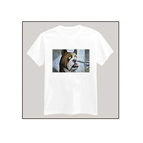 Dog With Gun Print Tshirt For Men Women Cotton Casual Shirt White Top Tees Big Size S-XXXL ver 1