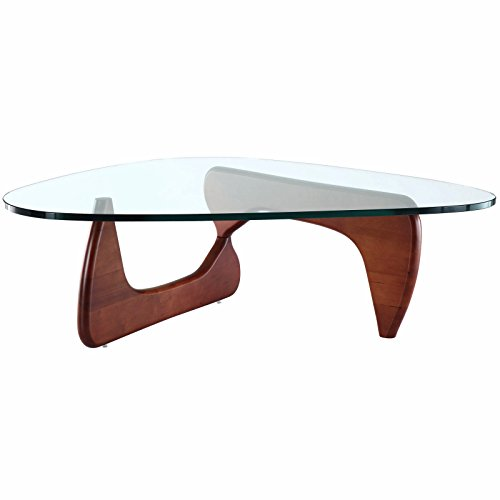 EMODERN FURNITURE eMod – Noguchi Coffee Table Triangle Glass Top Cherry Base For Sale