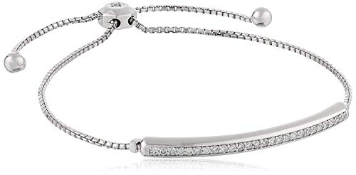 14k White Gold with Invisible-Set Diamond Bar Adjustable Bracelet (1/3cttw, I-J Color, SI2-I1 Clarity)