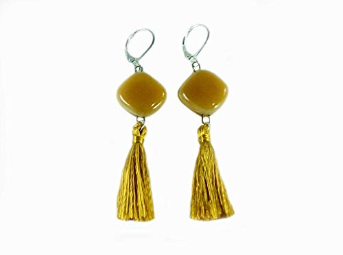 Fused Glass and 925 Sterling Silver Amber Color Tassel Earrings by Gerty