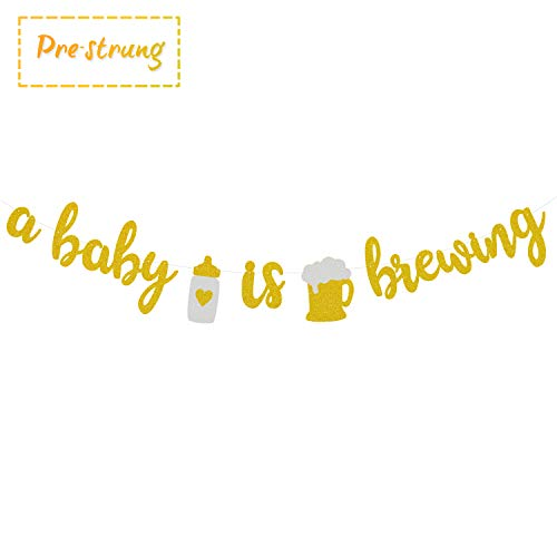 A Baby is Brewing Baby Shower Banner Gender Reveal Party Decoration Diaper Party Decor Pre-strung Gold Glitter Baby Brewing Sign with Beer & Baby Bottle Design