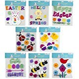 Easter & Spring Window Gel Cling Decorations - 8 Sheet Sets - Easter Eggs, Bunnies, Frogs, Flowers, Snails, Lamb, Happy Easter and Hello Spring -