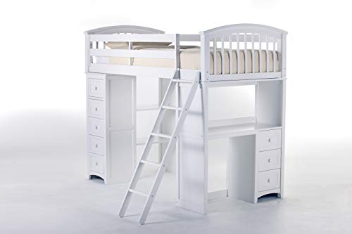 Hillsdale Furniture 7080NL Furniture Kids and Teen Charlie Student Loft, Twin, White