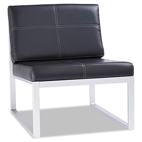 Alera ALERL8319CS Ispara Series Armless Cube Chair, 26-3/8 x 31-1/8 x 30, Black/Silver