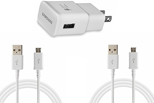 Samsung  Adaptive Fast Charging Usb Wall Charger Power Adapter And 2x  Samsung Micro Usb Charging Cable (Pack of 2) - (White) (Non-Retail Packaging)