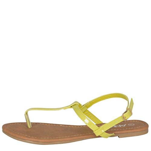 ANNA Womens Open Toe T-Strap Slingback Gladiator Flip Flops Flat Slippers Sandal Yellow 59jf1RostZ