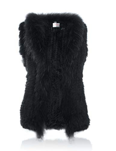 HEIZZI Rabbit Fur Vest with Raccoon Fur Collar Knitted Soft -