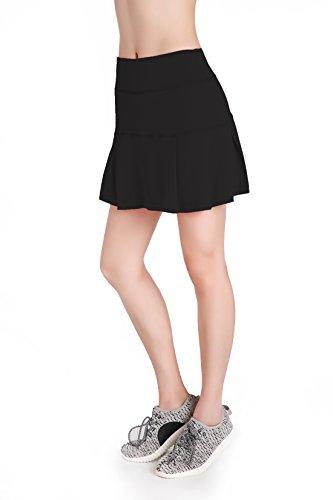 Annjoli Womens Running Skorts Golf Tennis Workout Skirt (L, Black)