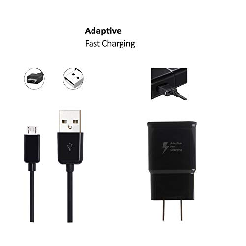 OEM Adaptive Fast Charger Compatible with Nokia Lumia 635/630 Cell Phones [Wall Charger + 5 FT Micro USB Cable] - True Digital Adaptive Fast Charging - Black (Boost Mobile Lumia 635 Phone)