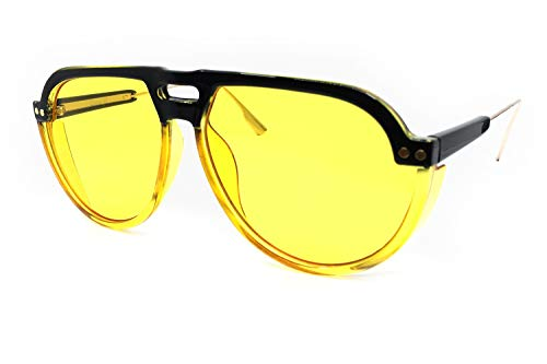 O2 Eyewear 8284 Oversize Aviator XL New Pop Classic Candy Funky Fashion Tint Designer Flat Top Womens Mens Sunglasses (YELLOW, ()