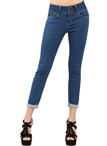 - Dokotoo Womens Fashion Distressed Roll up Jeans Mid Rise Legging 5 Pockets Cuffed Butt Lifting Skinny Jean Medium Denim Pants Large