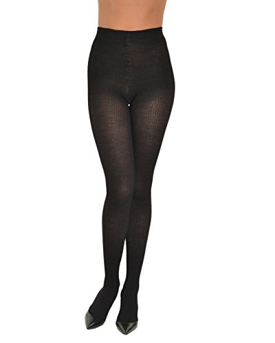 Black Merino Wool Ribbed Womens Fashion Tights Reinforced Toe Made in Italy Sizes: Small -