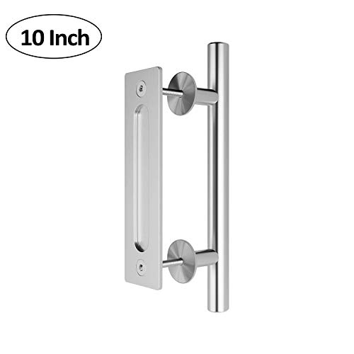 SEIDO Heavy Duty 10 Inches Pull and Flush Barn Door Handles Set, Large Rustic Two-Side Design, for Gates Garages Sheds Furniture, Satin Stainless Steel Finish, Round by SEIDO (Image #5)