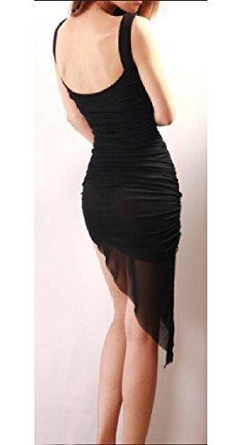 Jaycargogo Asymétrique Mince Des Femmes De L'été En Forme De Coupe-bas Dos Ouvert Sexy Boîte De Nuit Mini-robe Noire