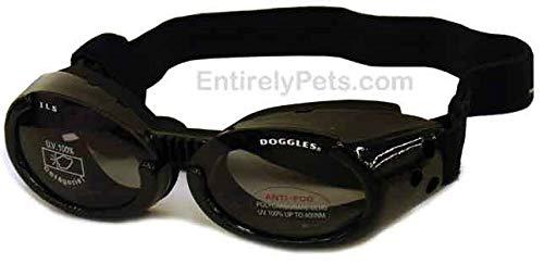 Doggles DGIL-01-L ILS - Gafas de Sol para Perros, Negro (Shiny Black Frame/Mirror Blue Lens), L