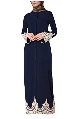 Du Abaya Navy Col Tupath Musulmanes Tour Longues Blue Dentelle Robes Manches Femmes twvtFfBzqx