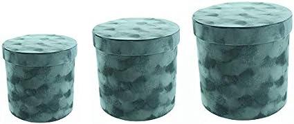 3 Luxury Florist Flower Velvet Hat Boxes Black 4830