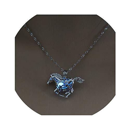 Nona E Ansell Moon Glowing Necklace Gem Charm Jewelry Silver Plated Women Halloween Pendant Hollow Luminous Stone Pendant Necklace Gifts,Horse Blue