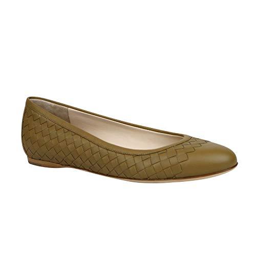 Bottega Veneta Women's Intrecciato Brown Leather Flat Slippers 370132 2640 (EU 40 / US 10)