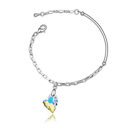(Pop uses Element Crystal Bracelet Love Corner high-end Jewelry,Colorwhite5498)
