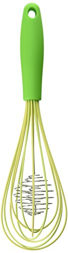 The World's Greatest Rapid Whisk with Double Helix Spiral Blades, 18/8 Stainless Steel and Silicone, Green