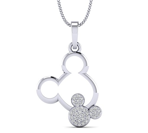 - Fehu Jewel 0.10cts Natural Diamond Gold Over Sterling Silver Double Mickey Mouse Pendant for Her (White-Gold-Plated-Silver)