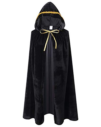 Kids Velvet Cape Cloak with Hood Unisex-Child Cosplay Halloween Christmas Costume (100cm/39.4inch, Black(Lace))]()