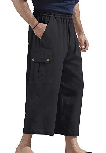 KingSize Men's Big & Tall Judo Gauze Cotton Cargo Shorts with Full Elastic Waist, Black ()