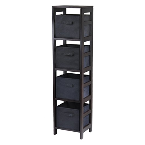Capri 4-Section N Storage Shelf with 4 Foldable Black Fabric Baskets by Ergode