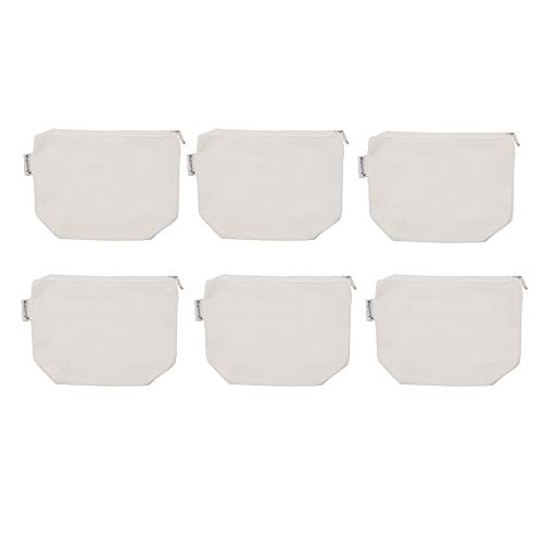 Augbunny 100% Cotton 12oz Canvas Zipper Cosmetic Makeup Jewlery Pouch Coin Cash Purse Change Holder 6-Pack