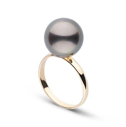 Classic Collection 11.0-12.0 mm Tahitian Cultured Pearl Ring - 14K Yellow Gold - Ring Size 9 14k Yellow Gold Tahitian Pearl