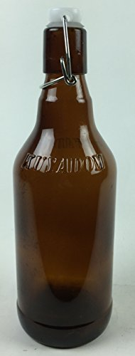Circleware 07093 Huge Set of 12 Brown Beer Bottles with Locking Swing Top Easy Wire Cap Stopper, Kitchen Dispenser Glasses for Milk, Water and Beverage Drinking, 16.4 oz, Glassware