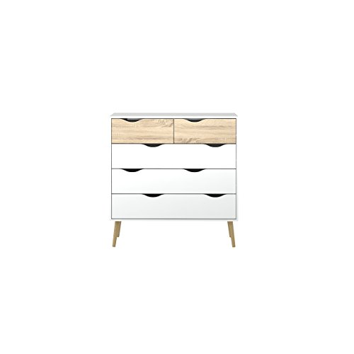 Tvilum 7545649ak Diana 5 Drawer Chest, White/Oak - Modern Dressers Furniture