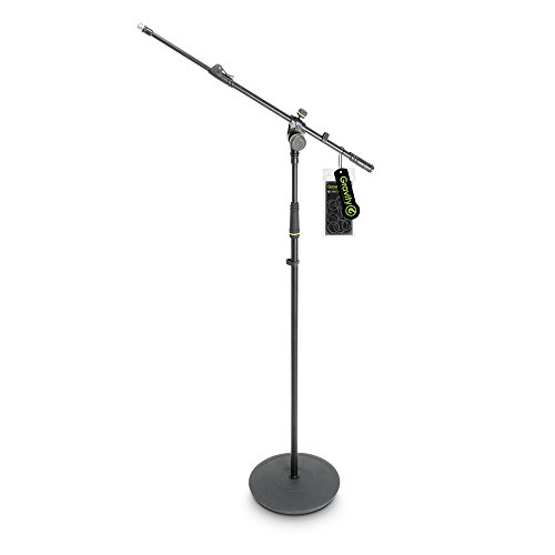 Gravity MS 2322 B Microphone Stand with Round Base and 2-Point Adjustment Telescoping Boom (GMS2322B)