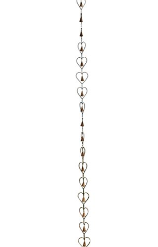 - Ancient Graffiti Flamed Copper Hearts & Cut Out Bells Rain Chain, 3.5