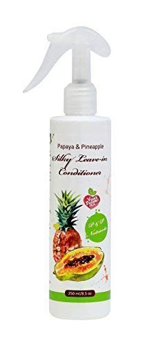 Papaya & Pineapple Natural Leave in Conditioner Spray for Dry and Damaged Hair Treatment| Anti-Frizz and Hair Detangler|Hair nourishment serum|Vegan|Paraben, SLS and Sulfate Free - 8.5 oz (Best Dry Conditioner Spray)